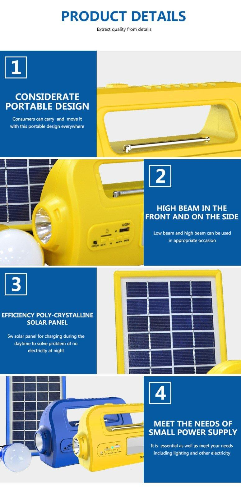 portable lighting dc80w Huami Brand portable solar panel kits for home factory