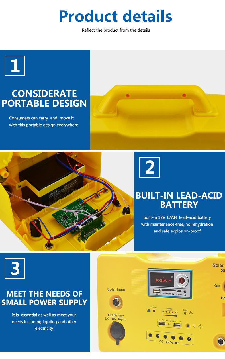 long lighting time portable solar generator kit 65ah high brightness for manyfacturer-5