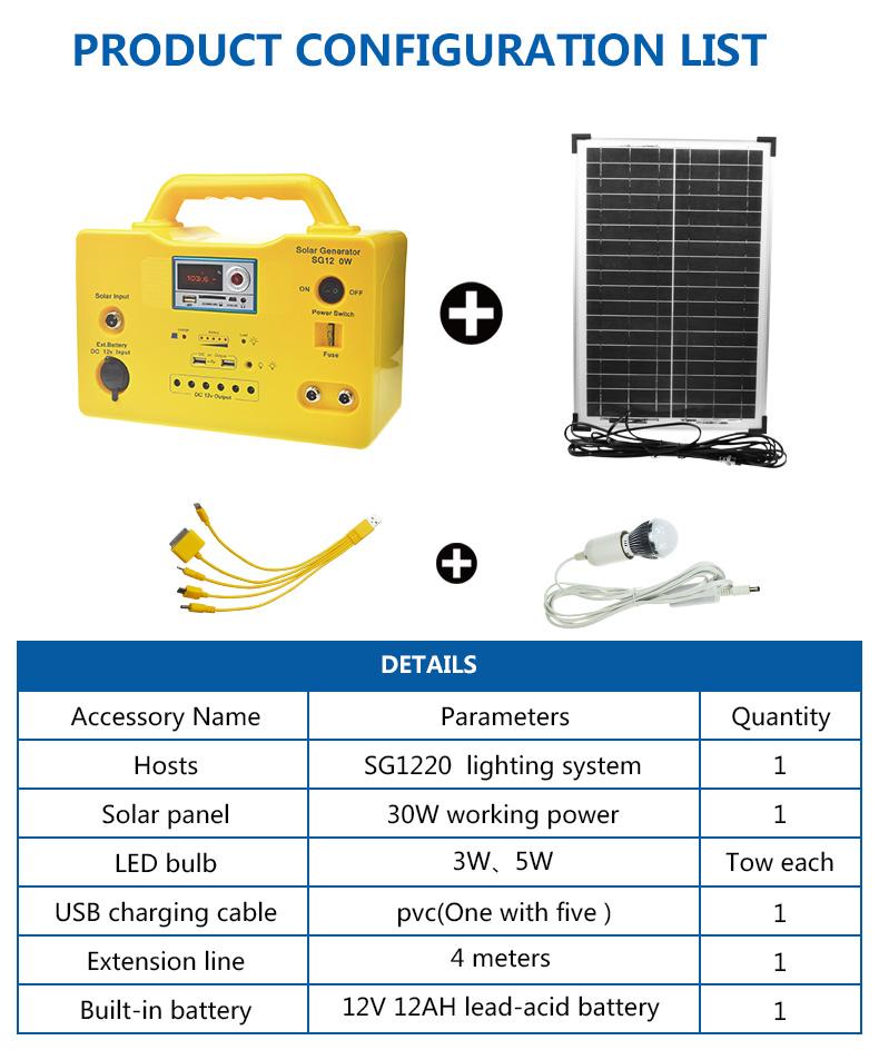 long lighting time portable solar generator kit 65ah high brightness for manyfacturer-6