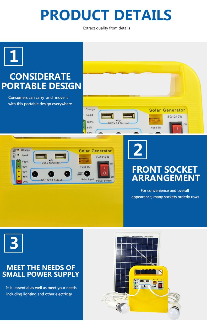 portable solar power generator kit mp3 one year warranty for industry-5